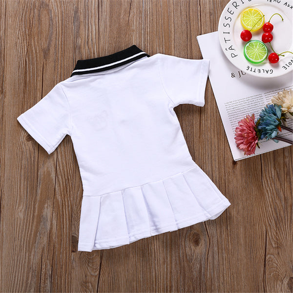 Girls Short Sleeve Lapel Cartoon Puppy Dress Wholesale Girl Dresses