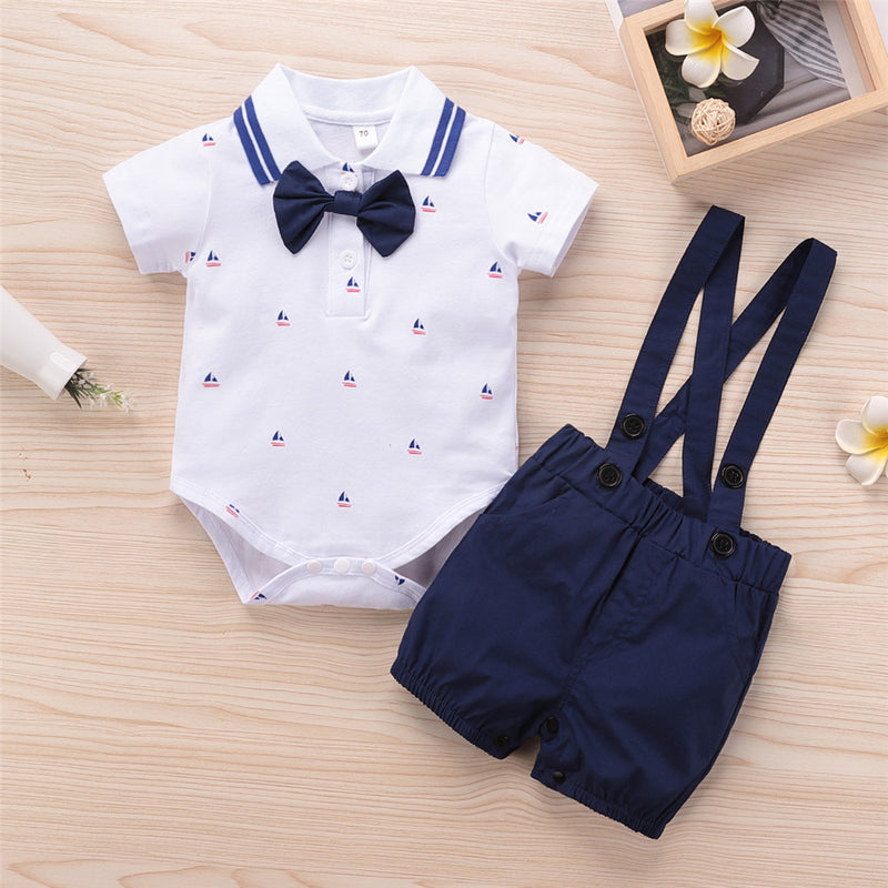 Baby Boys Short Sleeve Lapel Cartoon Romper & Overalls Baby Wholesale