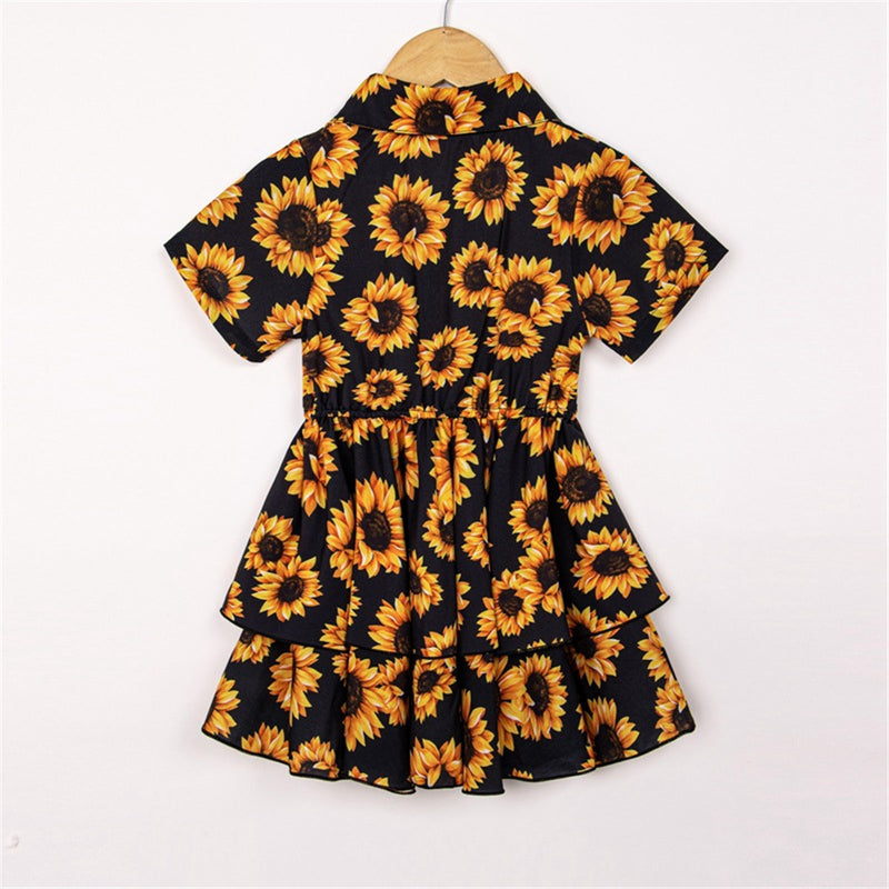 Girls Short Sleeve Lapel Floral Printed Dress childrens wholesale clothing