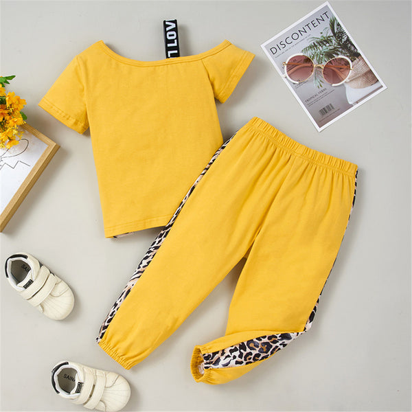 Girls Short Sleeve Leopard Color Contrast Top & Pants childrens wholesale clothing