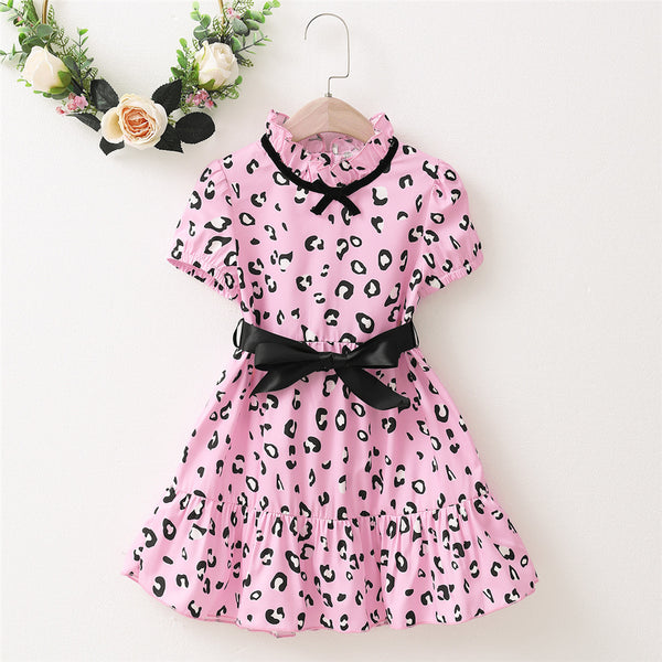 Girls Short Sleeve Leopard Printed Bow Decor Dress wholesale kids clothing
