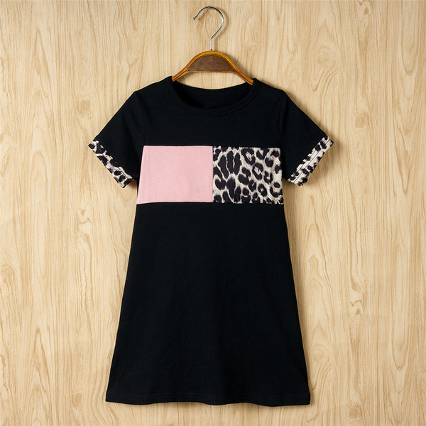 Girls Short Sleeve Leopard Printed Casual Dress wholesale kids boutique clothing
