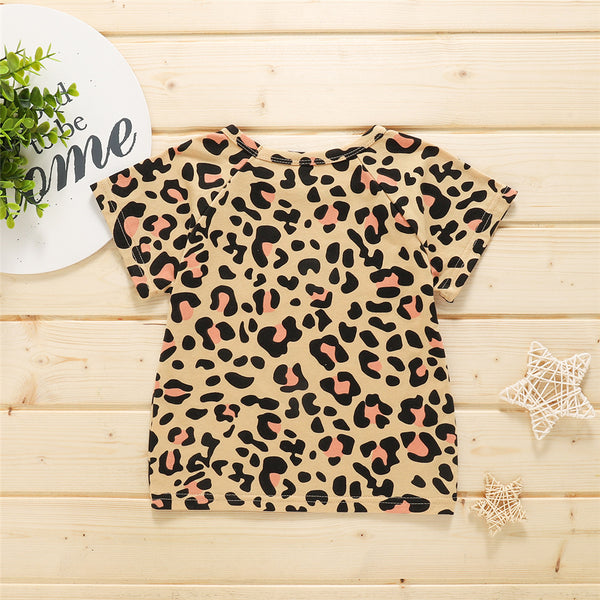 Baby Girls Short Sleeve Leopard Printed Crew Neck T-shirt cheap baby girl clothes boutique