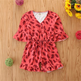 Girls Short Sleeve Leopard Printed Jumpsuit wholesale girls clothes