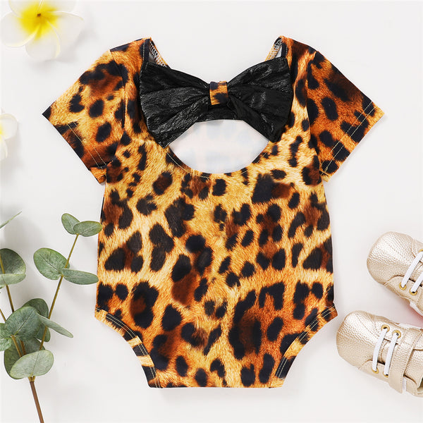 Baby Girls Short Sleeve Leopard Printed Lovely Romper Wholesale Baby Clothes