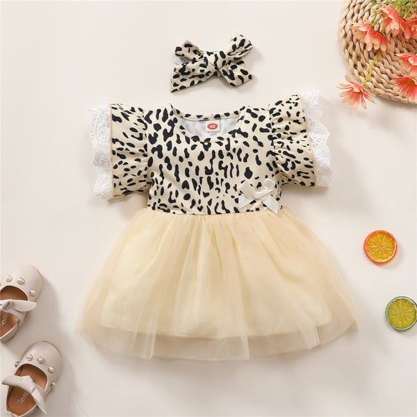 Baby Girls Short Sleeve Leopard Printed Mesh Dress Babywear Wholesale