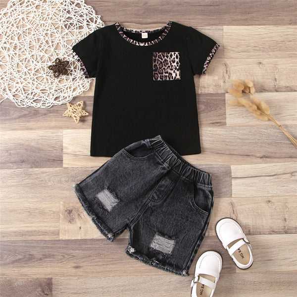 Girls Short Sleeve Leopard Printed T-Shirts & Denim Shorts wholesale kids clothing suppliers