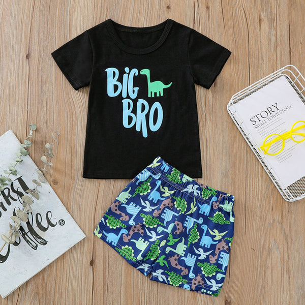 Boys Short Sleeve Letter Big Bro Dinosaur Printed Top & Shorts Boys Wholesale Clothing