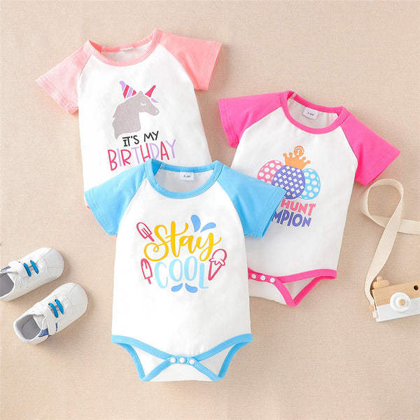 Baby Unisex Short Sleeve Letter Cartoon Printed Romper Wholesale Baby Clothes