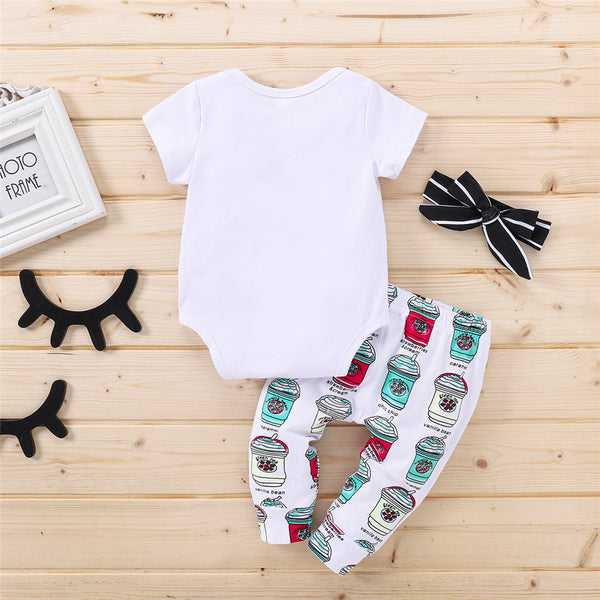 Baby Girls Short Sleeve Letter Cartoon Printed Romper & Pants & Headband Wholesale Baby Clothes