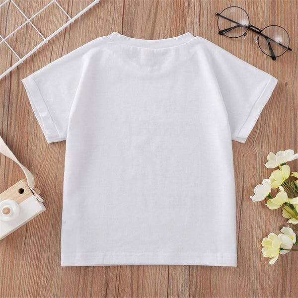 Unisex Short Sleeve Letter Casual T-shirt children wholesale clothing