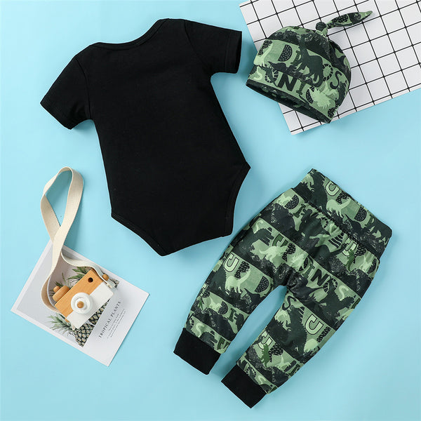 Baby Boys Short Sleeve Letter Dinosaur Printed Romper & Pants & Hat baby clothes wholesale usa