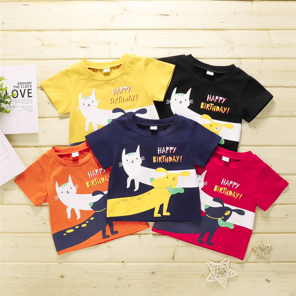 Baby Unisex Short Sleeve Letter Happy Birthday Animal Printed T-Shirts Wholesale Baby Clothes