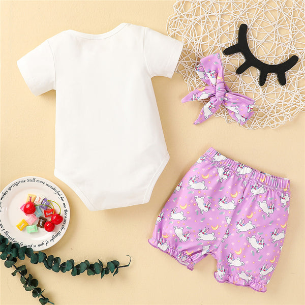 Baby Girls Short Sleeve Letter Happy Easter Printed & Rabbit Shorts & Headband Baby Girl Clothes Wholesale