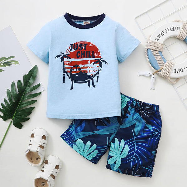Boys Short Sleeve Letter Just Chill ree Printed Top & Shorts kids wholesale clothing