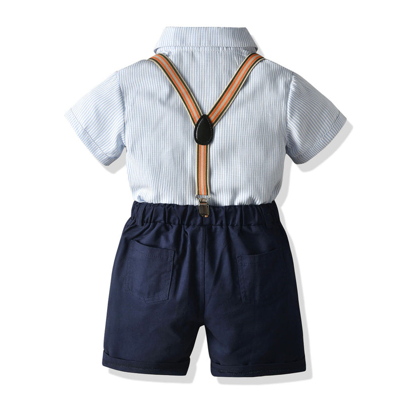 Boys Short Sleeve Letter Lapel Striped Shirt & Overalls Boys Summer Outfits