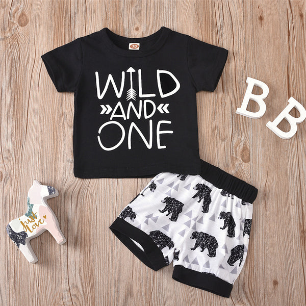 Baby Boys Short Sleeve Letter Print Top & Cartoon Shorts Baby Outfits