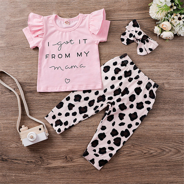 Baby Girls Short Sleeve Letter Print Top & Pants & Headband Wholesale Girl Clothing