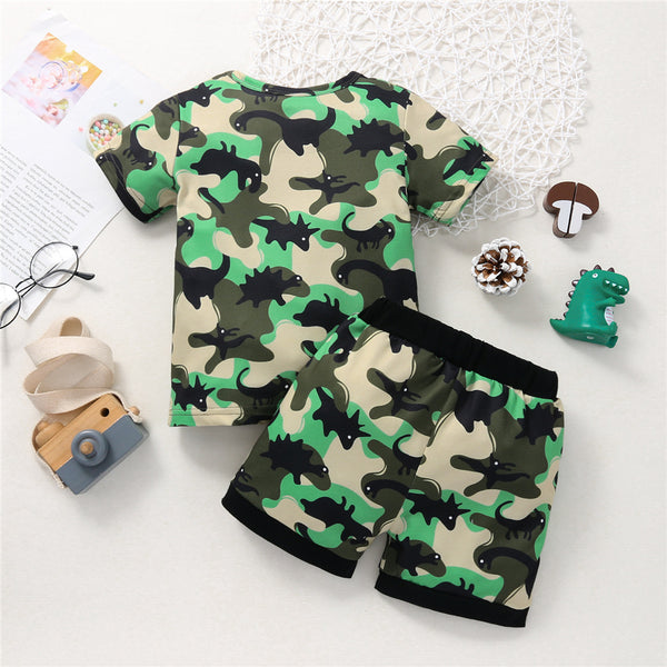 Boys Short Sleeve Letter Printed Animal Printed Top & Shorts wholesale childrens clothing