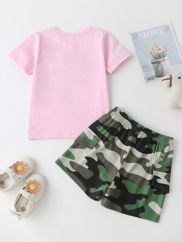 Girls Short Sleeve Letter Printed Camouflage Top & Shorts kids wholesale clothing