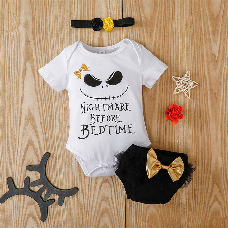 Baby Girls Short Sleeve Letter Printed Cartoon Romper & Shorts & Headband Wholesale Baby Clothes In Bulk