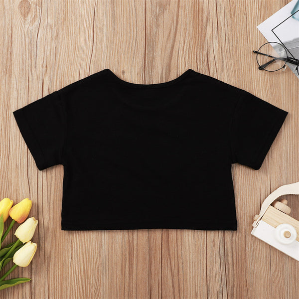Girls Short Sleeve Letter Printed Casual Top Kids Boutique Wholesale