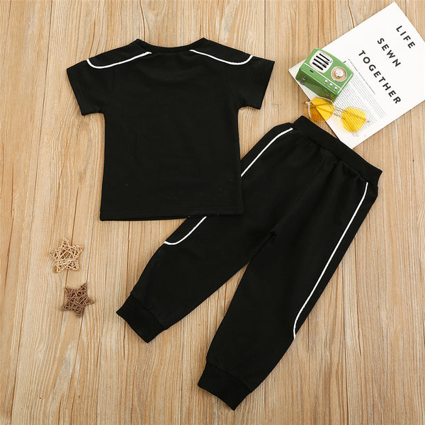 Boys Short Sleeve Letter Printed Casual Top & Pants Summer Sport Suit Boys Clothes Wholesale