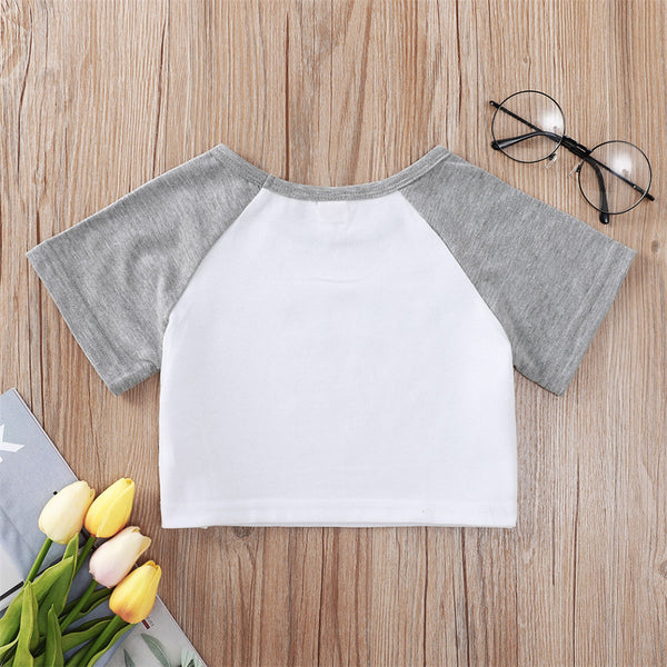 Girls Short Sleeve Letter Printed Color Block Top wholesale kids clothing suppliers