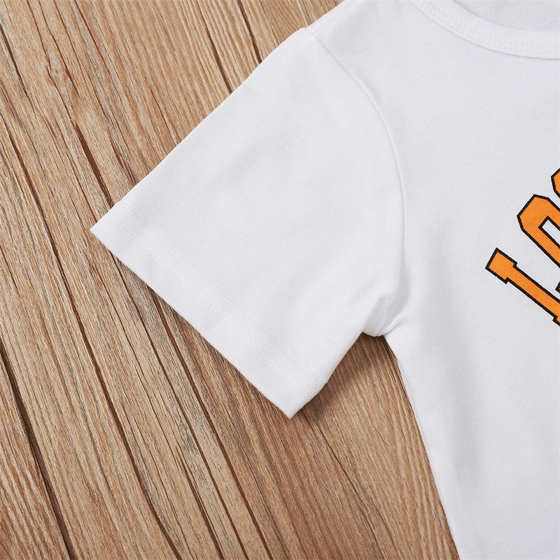 Girls Short Sleeve Letter Printed Crew Neck T-shirt Bulk Childrens Clothing Suppliers