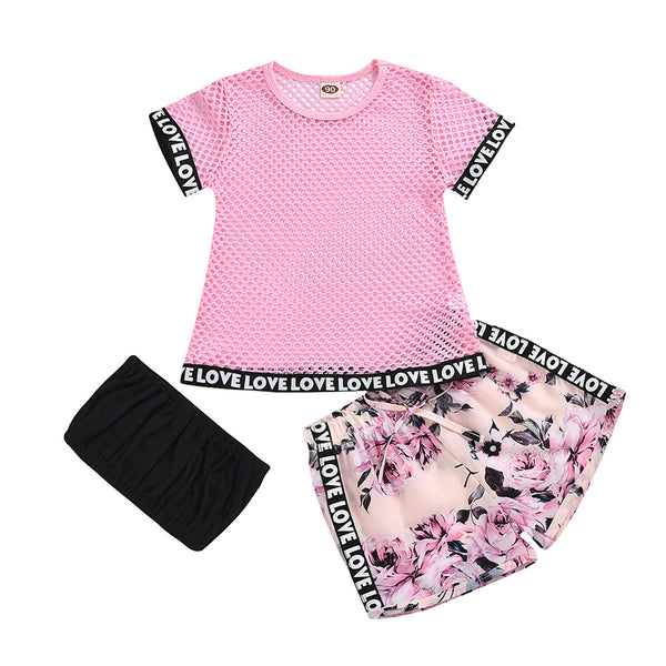 Girls Short Sleeve Letter Printed Hollow Out Top & Tube Top & Floral Shorts quality children's clothing wholesale
