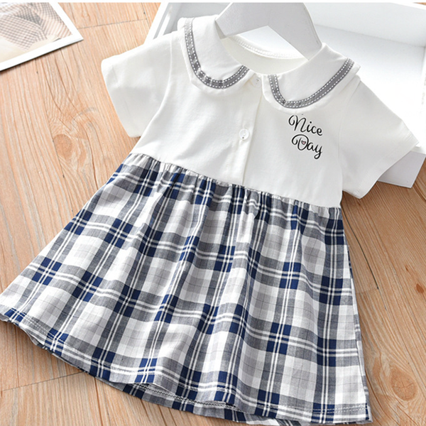 Girls Short Sleeve Letter Printed Plaid Splicing Dresses Wholesale Childrens Boutique Clothing Suppliers