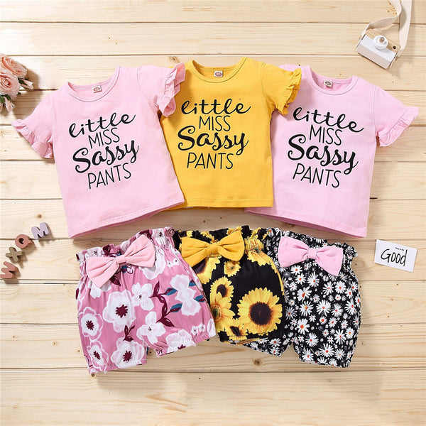 Girls Short Sleeve Letter Printed Pullover Top & Floral Shorts wholesale kids boutique clothing