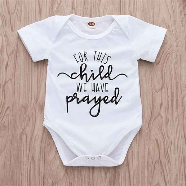 Baby Unisex Short Sleeve Letter Printed Romper Baby Clothing In Bulk