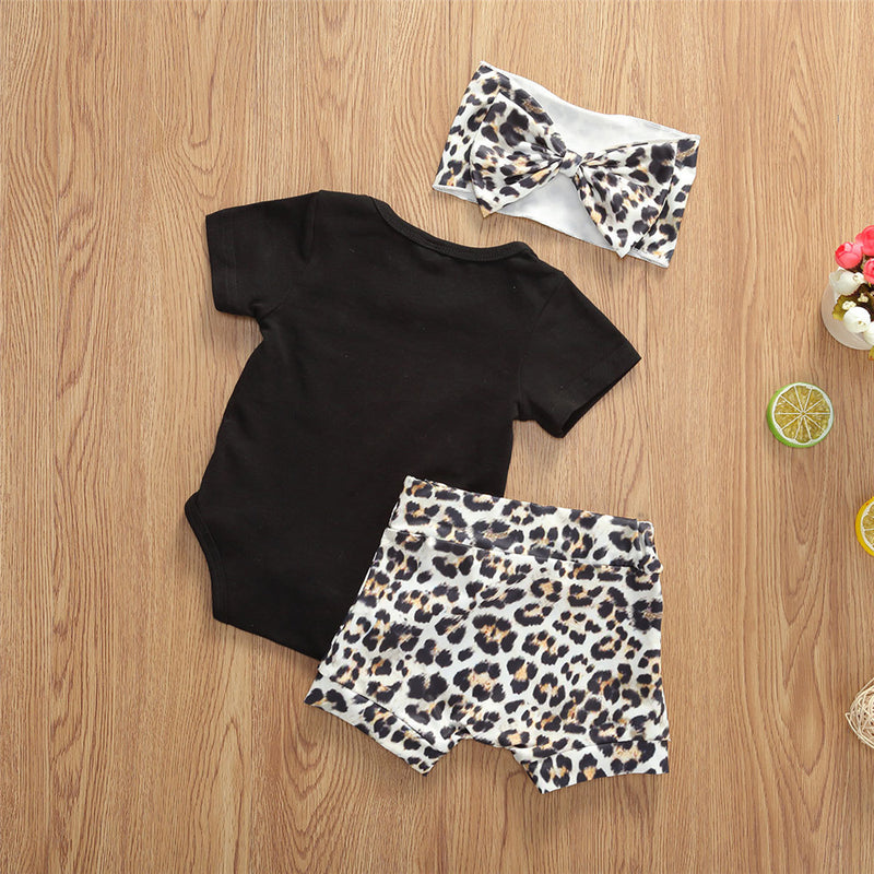 Baby Girls Short Sleeve Letter Printed Romper & Leopard Shorts & Headband Baby Wholesale Clothing