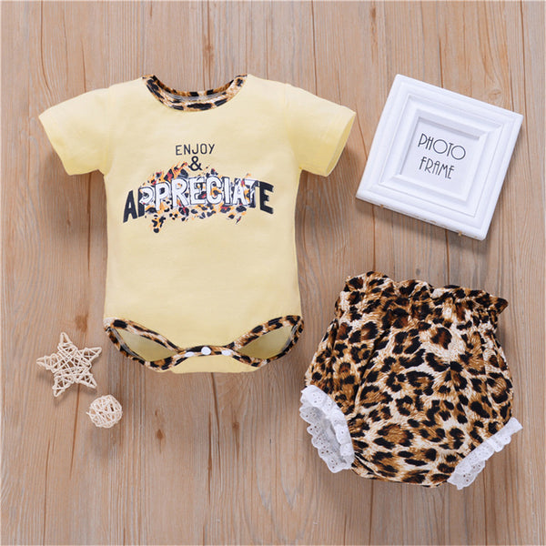 Baby Girls Short Sleeve Letter Printed Romper & Shorts Wholesale Baby Clothes