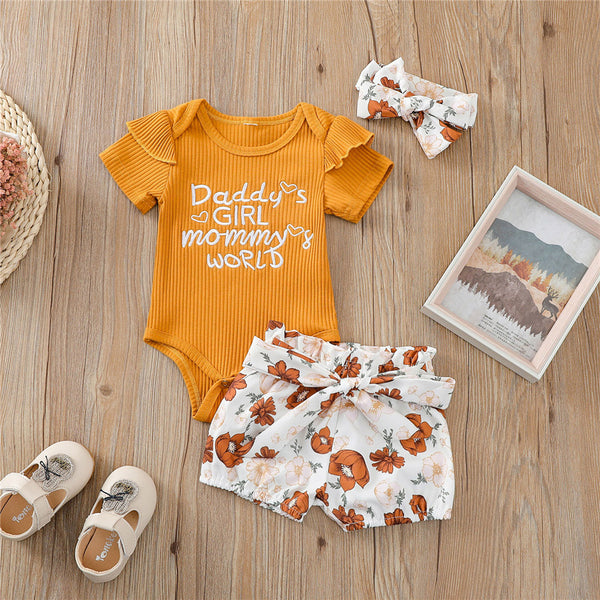 Baby Girls Short Sleeve Letter Printed Romper & Shorts & Headband Wholesale Baby Clothes