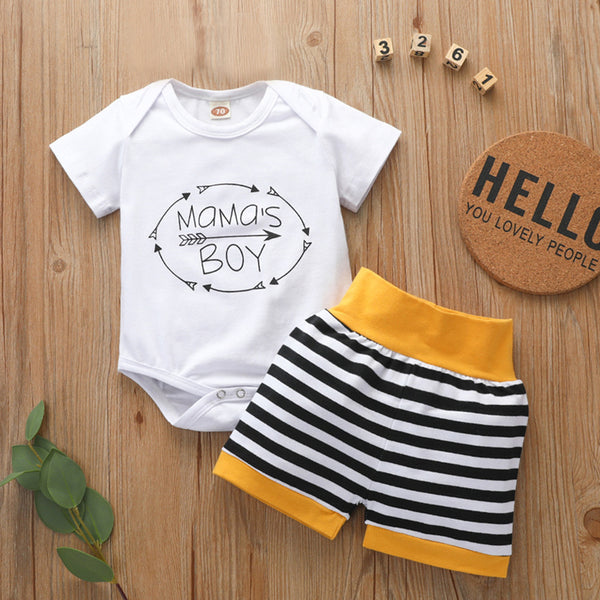 Baby Boys Short Sleeve Letter Printed Romper & Striped Shorts Baby Clothing Distributor