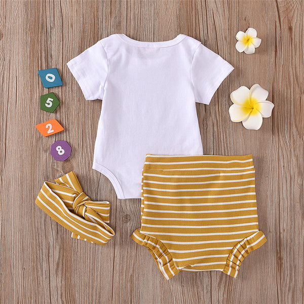Baby Girls Short Sleeve Letter Printed Romper & Striped Shorts & Headband wholesale toddler clothing