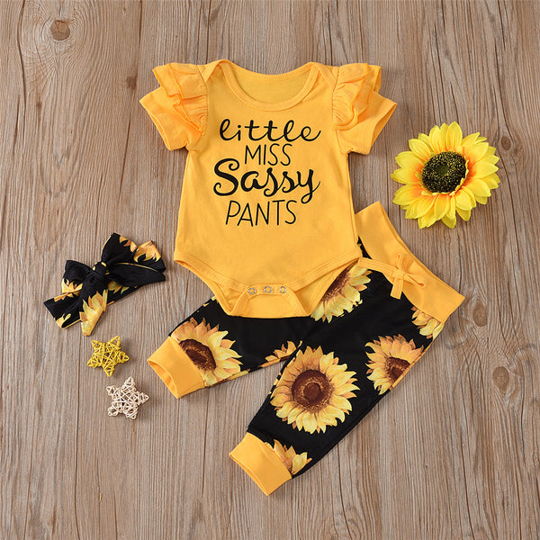 Baby Girls Short Sleeve Letter Printed Romper & Sunflower Pants & Headband Wholesale Baby Clothes