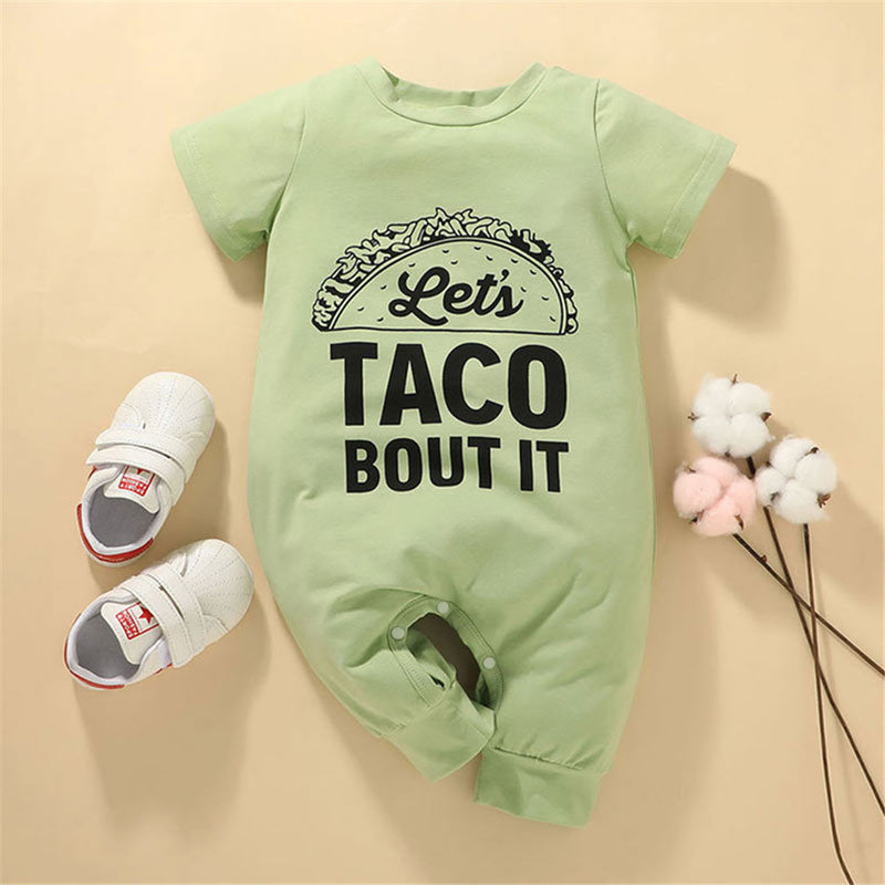 Baby Unisex Short Sleeve Letter Printed Romper baby wholesale clothing