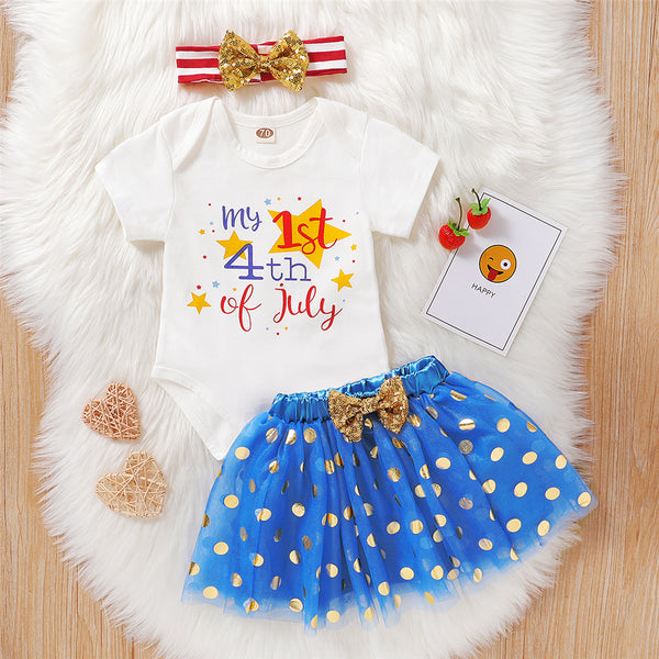 Baby Girls Short Sleeve Letter Printed Star Romper & Skirt & Headband cheap baby clothes wholesale