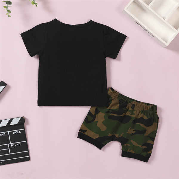 Boys Short Sleeve Letter Printed T-Shirts & Camouflage Shorts kids clothes wholesale