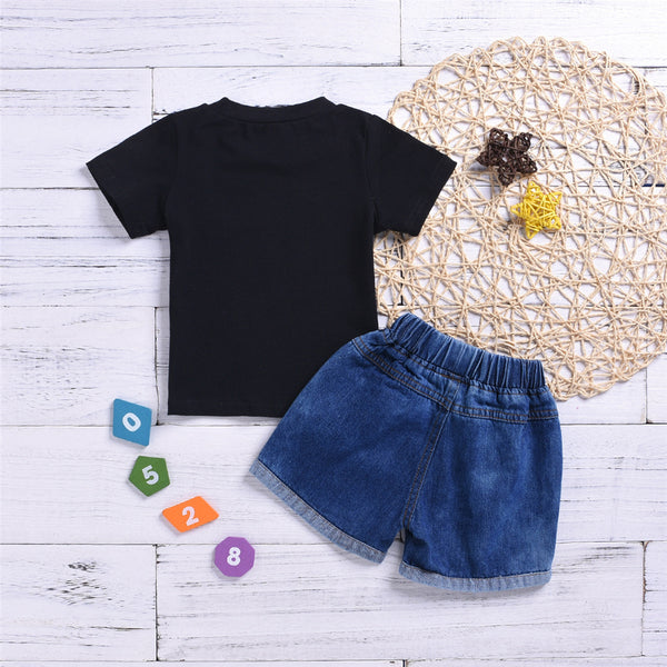 Baby Boys Short Sleeve Letter Printed T-Shirts & Denim Shorts wholesale baby clothes