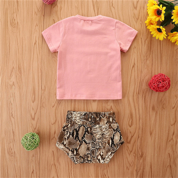 Baby Girls Short Sleeve Letter Printed T-Shirts & Shorts cheap baby clothes wholesale
