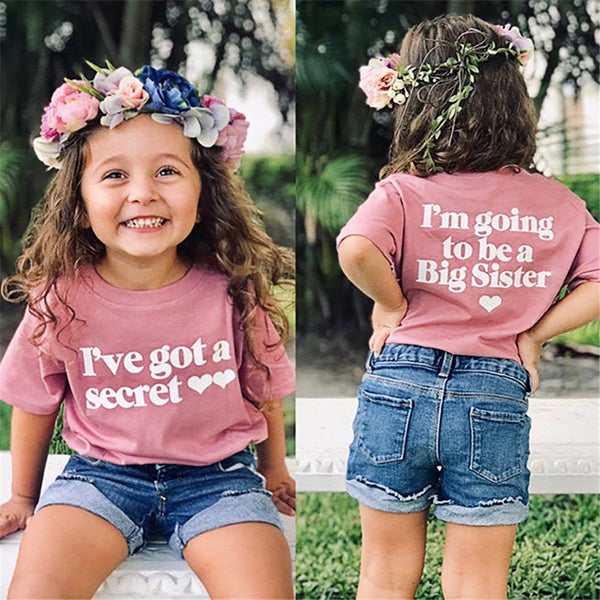 Girls Short Sleeve Letter Printed T-shirt Wholesale Clothing For Girls