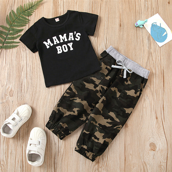 Boys Short Sleeve Letter Printed T-shirt & Camouflage Pants wholesale boys clothing
