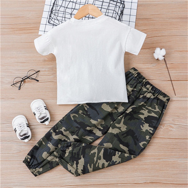 Girls Short Sleeve Letter Printed Top & Camouflage Pants wholesale kids clothing