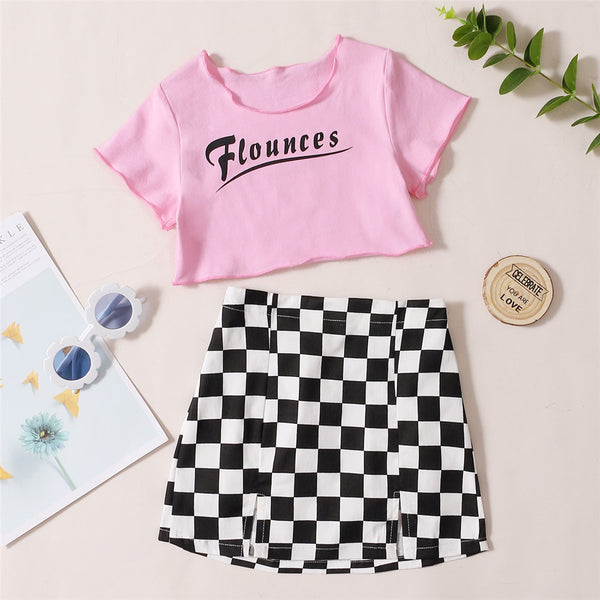 Girls Short Sleeve Letter Printed Top & Plaid Skirt trendy kids wholesale clothing