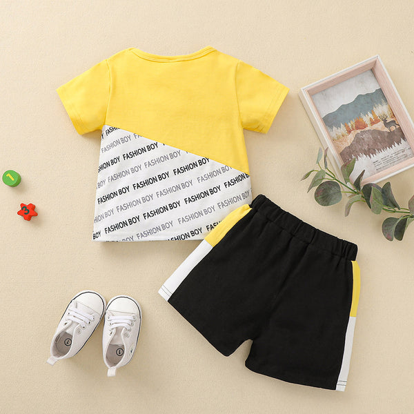 Baby Boys Short Sleeve Letter Printed Top & Shorts baby boy clothes wholesale