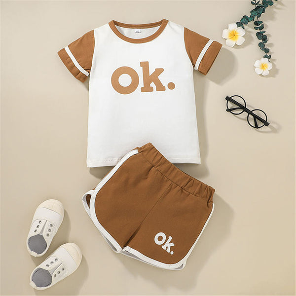 Unisex Short Sleeve Letter Printed Top & Shorts trendy kids wholesale clothing